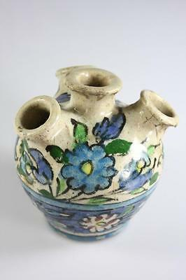 ANTIQUE 17th Century PERSIAN QAJAR GLAZED HANDPAINTED CERAMIC SCENT POT