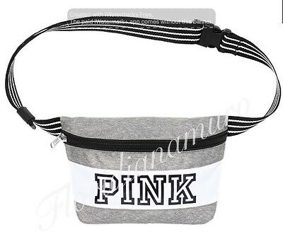 New Victoria's Secret PINK Logo Fanny Pack Waist Bag Heather Gray White NIP