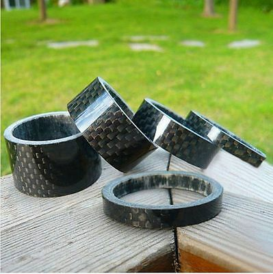 "5x 3/5/10/15/20mm 1 1/8"" Bike Bicycle Carbon Fibre Headset Washer Stem Spacer"