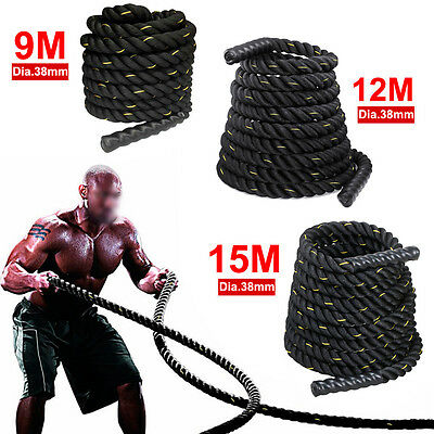 9M/12M/15M 38MM Home Gym Battle Power Rope Exercise Workout Strength Bootcamp
