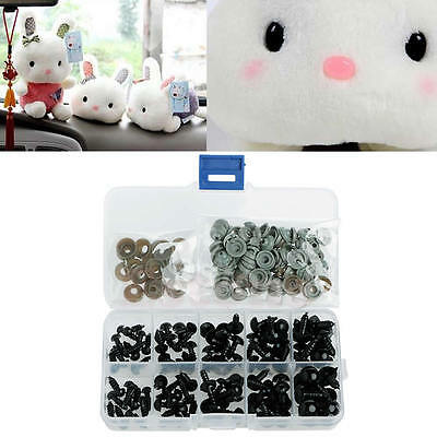 New 100X Black Plastic 6-12mm Safety Eyes For Teddy Bear Doll Puppet Crafts
