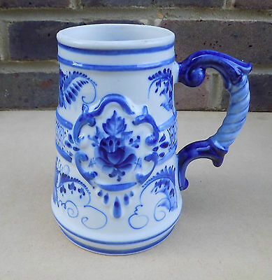 Vintage Russian White and Blue Beer Stein / Tankard