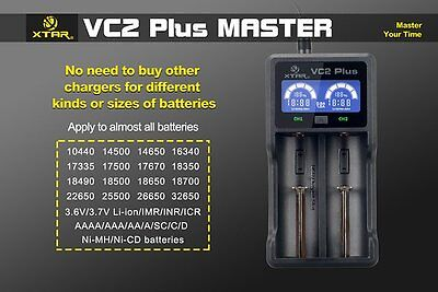 XTAR VC2 Plus Master LCD Power Bank AA AAA C D 18650 26650 32650 Battery Charger