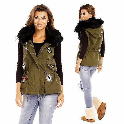 516610 Damen Übergang Winter Weste Fell Kapuze Patches Jacke Military Stil Parka