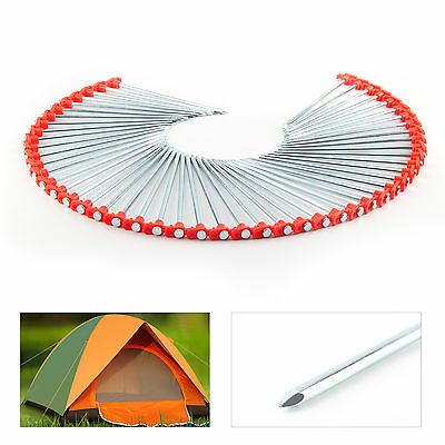 50 X Metal Tent Pegs Hard Ground Standing Camping Awning Pegs Heavy Duty