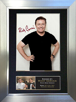RICKY GERVAIS Signed Autograph Mounted Reproduction Photo A4 Print no22