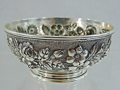 Antique Baltimore Sterling Silver Repousse Hand Chased Small Bowl Candy Dish 19C