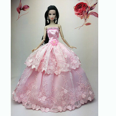 Pink Fashion Wedding Gown Dresses Clothes Outfit Party For Barbie Doll