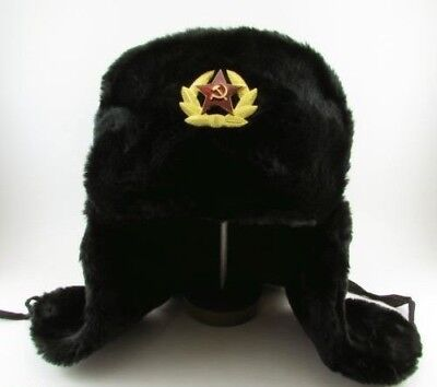 Russian Army Soldier Military Winter Fur Hat USHANKA with Soviet Badge! Size 62
