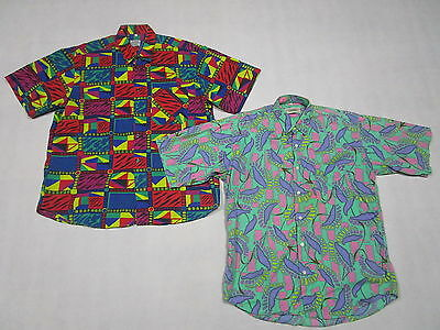 2 Hemd Button Down Shirt Hemd Funky Bunt Coulour Hawaii Muster Vintage L 43/44