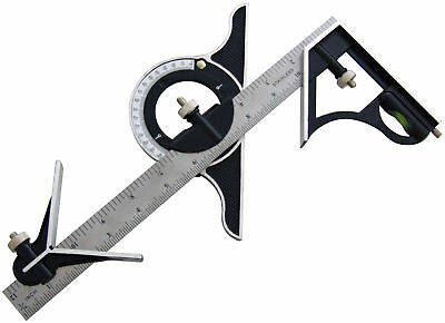 "12"" Combination Square with Protractor Carpenters Carpentry Angles DIY Tools"