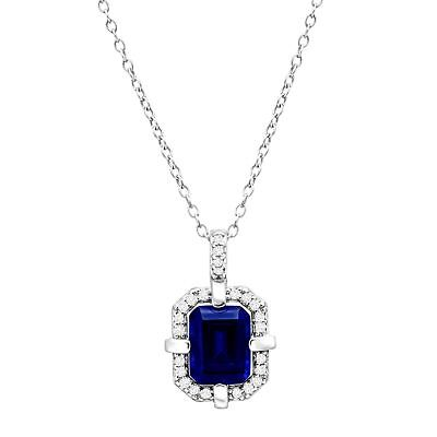 1 1/6 ct Created Blue & White Sapphire Frame Pendant in Sterling Silver
