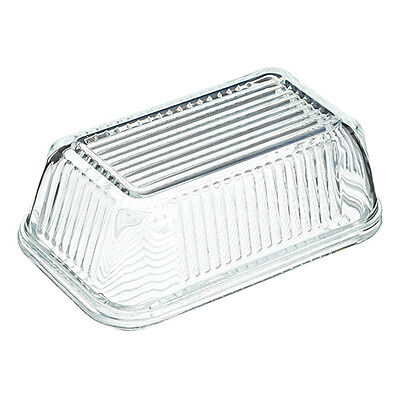 Kitchen Craft Glass Embossed Vintage Style Covered Butter Dish