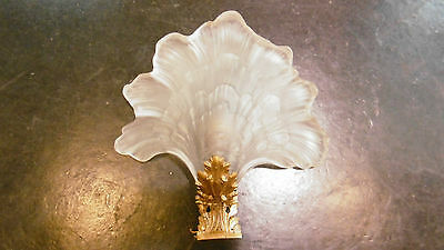 Antique French glass leaf and bronze sconce