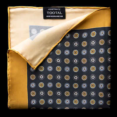 Tootal Gold and Black Circles Silk Pocket Square