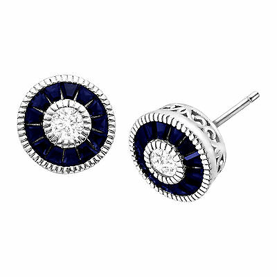 1 5/8 ct Created Blue & White Sapphire Radial Stud Earrings in Sterling Silver