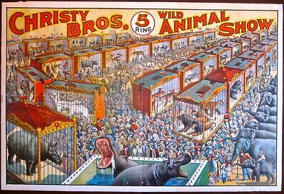 Cut 200 More! Christy Brothers Wild Animal Show 1920's Circus Lb Poster!!