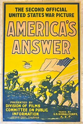 Reduced 175!  Americas Answer -1918 Wwi Lb War Film Poster - Rare & Solider A