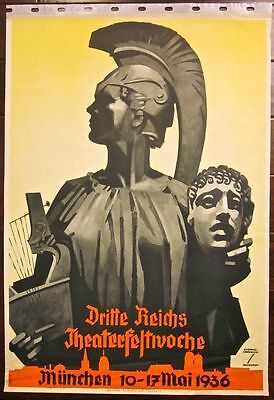 Cut $100! 1936 German Theatre Poster -Amazing Artwork With Roman Soldier & H
