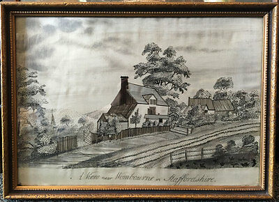 """Early 19th c. Albany School Girl's Silk Embroidery of  """"A View Near Wombourne in"""