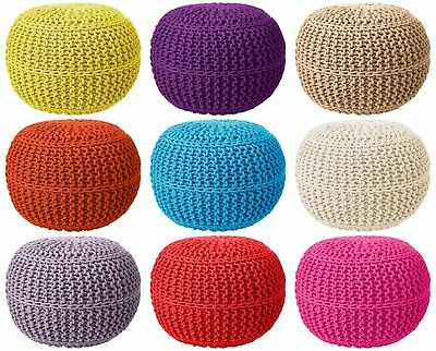 Cotton Round Foot Stool Braided Moroccan Cushion Handmade Double Knitted Pouffe