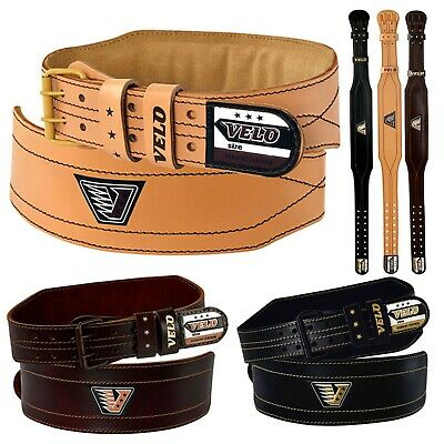 "VELO Weight Lifting 4"" Leather Belt Gym Back Support Straps Power Training"