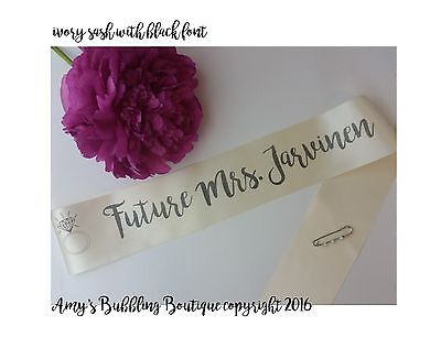 future mrs bridal shower bachelorette bride to be personalized sash w pin