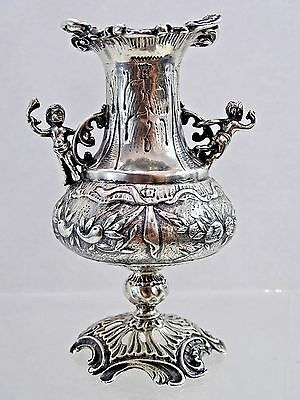 STUNNING ANTIQUE STERLING SILVER MINIATURE FIGURAL VASE imported to ENGLAND 1888