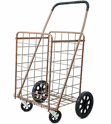 Premium Jumbo Size Metallic Folding Shopping Cart with Double Baskets 150 lb