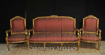 French Empire 3 Piece Suite Sofa Arm Chairs Fauteils Couch • £2,450.00