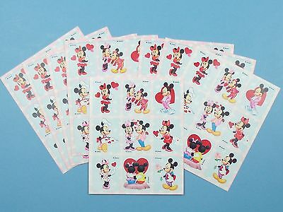 Vintage Disney Stickers Mickey & Minnie Mouse Hearts Valentines 8 Sheets