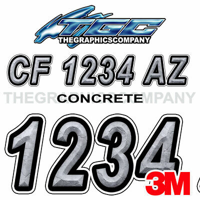 Concrete Custom Boat Registration Numbers Decals Vinyl Lettering Stickers USCG