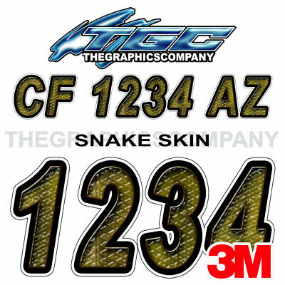 Snake Skin Custom Boat Registration Numbers Decals Vinyl Lettering Stickers USCG