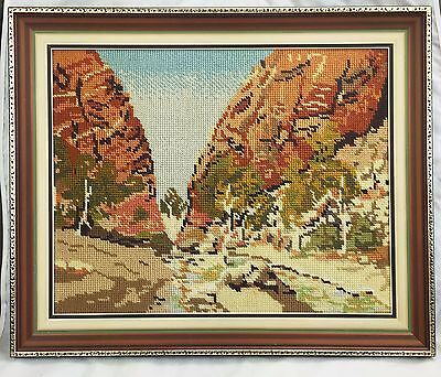 Framed Vintage Tapestry Australian Riverbed, Gorge  No glass. Needlepoint,