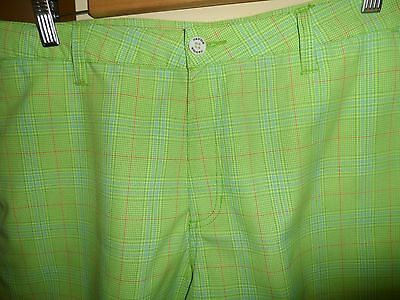 Fayde Bright Green Stripe Golf Shorts- Size 38