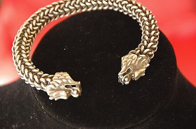 Old Silver / White Metal Double Dragons Head Bracelet …beautiful & unique unisex