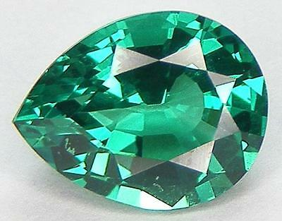 EXCELLENT CUT PEAR 9x7 MM. LAB CREATED NANOCRYSTAL EMERALD