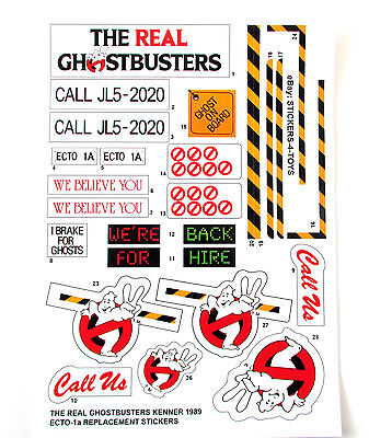 KENNER ECTO 1A THE REAL GHOSTBUSTERS ECTO-1A replacement Sticker set