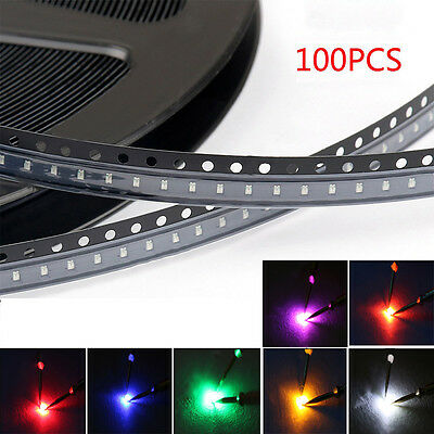 100pcs 0603 Diodes SMD SMT LED Light White Red Green Blue Yellow Orange Purple