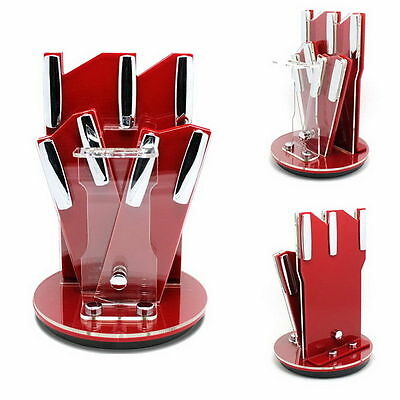 360 ° Rotating Acrylic Knife Storage Holder Blocks Rack Strip Kitchen Tool Red