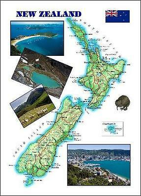 New Zealand Country Map New Postcard