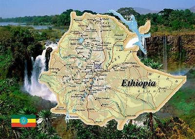 Ethiopia Country Map New Postcard