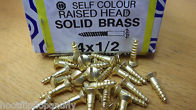 25 x    4.5mm x 50mm SOLID BRASS RAISED HEAD WOOD SCREWS  SLOTTED HEAD Wico