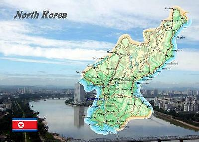 North Korea Country Map New Postcard