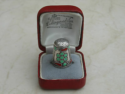 Lovely Vintage Sterling Silver Engraved Green-Red Enamel Thimble Russian???