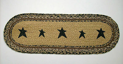 """Country Primitive KETTLE GROVE 8"""" X 24"""" Jute Table Runner with Stenciled Stars"""