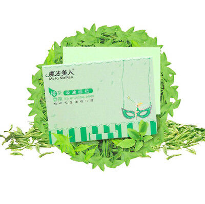 80 Facial Oil Control Sheets Absorbing Tissue Face Green Tea Blotting Paper Skin