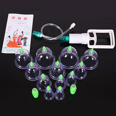 12 Cups Acupuncture Chinese Vacuum Cupping Suction Therapy Massage Device Set