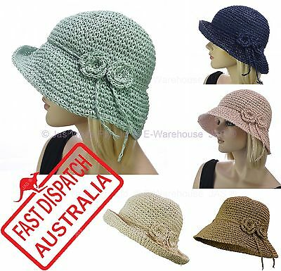 Ladies Portable Foldable Crochet 20s 20's Gatsby Party Cloche Bucket Sun Hat