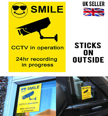 External Premises Cctv Surveillance Warning Security Camera Window Sign Sticker